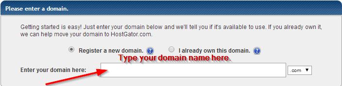 type domain name hostgator
