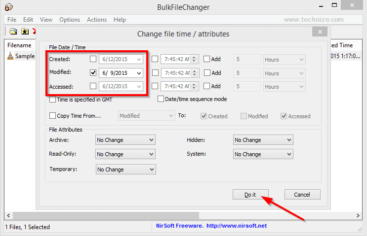 Change Date Modified Created Time Stamp of Any File By Techoize