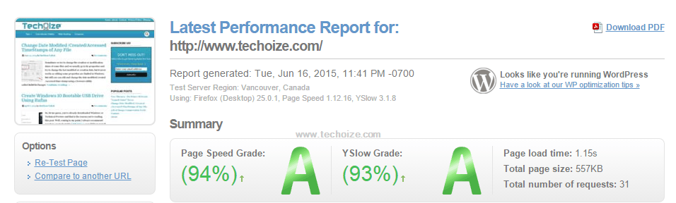 GTmetrix-Results By Techoize