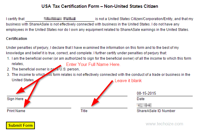 How To Submit ShareASale Non-US Tax Form By Techoize